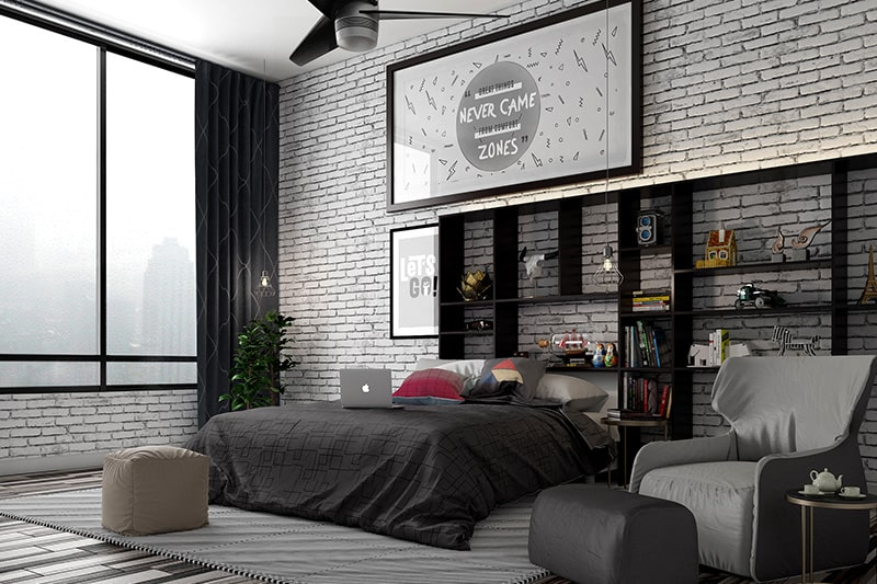 Black bedroom design with a black white bedroom is perfect to bring out the soothing contrasts