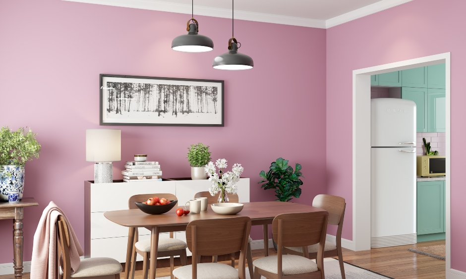 Pink colour bedroom which easily pair with metallic decor and signature wooden furniture