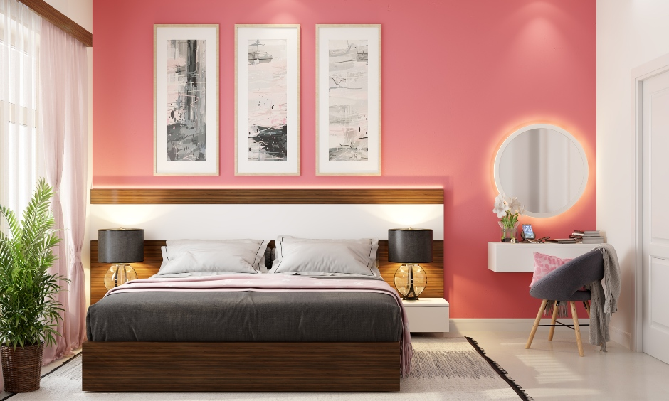 Pink colour wall for your home which blends perfectly with the decor and overall vibe of a modern home