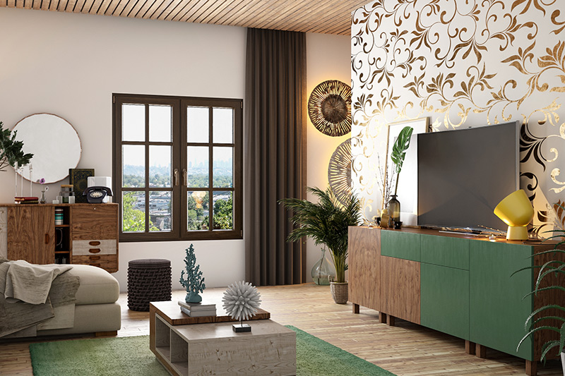 Metallic wallpapers are types of wallpaper, have thin layers of metal film or thread woven
