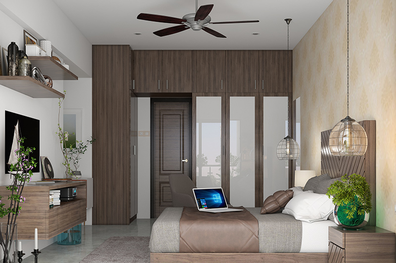 Latest cupboard design for small bedroom where fiber panels look extremely chic and stylish