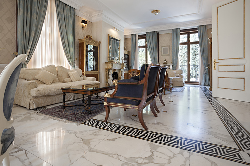 Diamond motifs simply lift the floor tile game in this living room is the best marble floor living room ideas