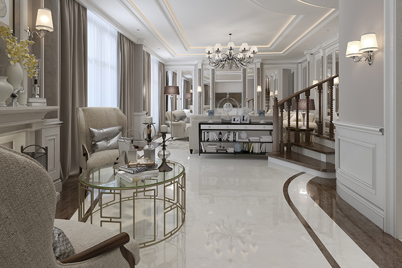 Simple marble flooring is perfect harmony with the colour scheme and design of the entire hall floor marble design.