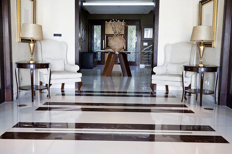Marble tiles for living room this zebra crossing styled tile is a unique way to floor your hall.