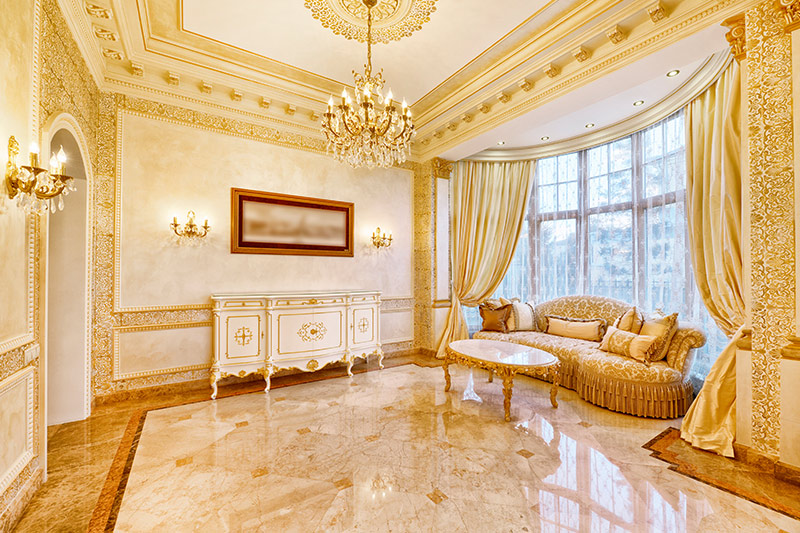 Marble tile living room ideas use warm golden hues make the hall look luminous!