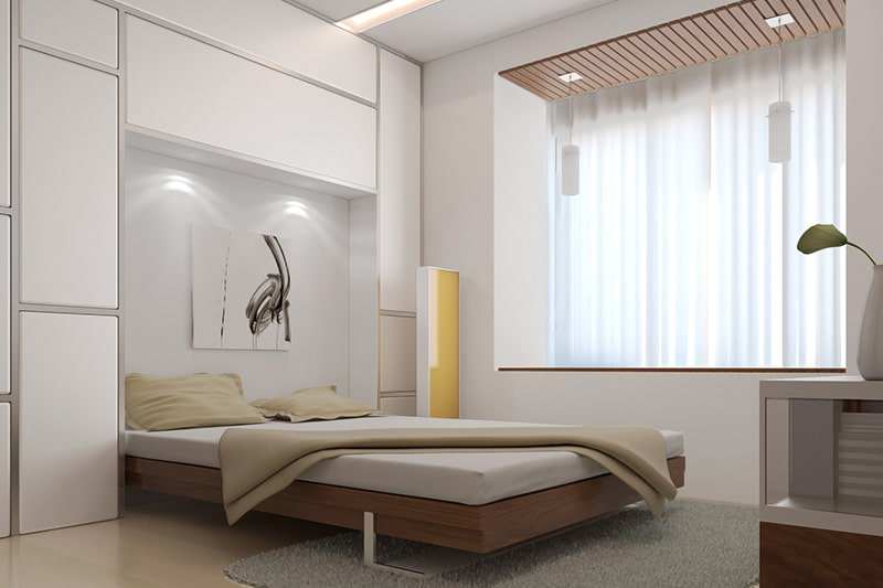 Simple and modern flat bed design with modern bed back wall designs