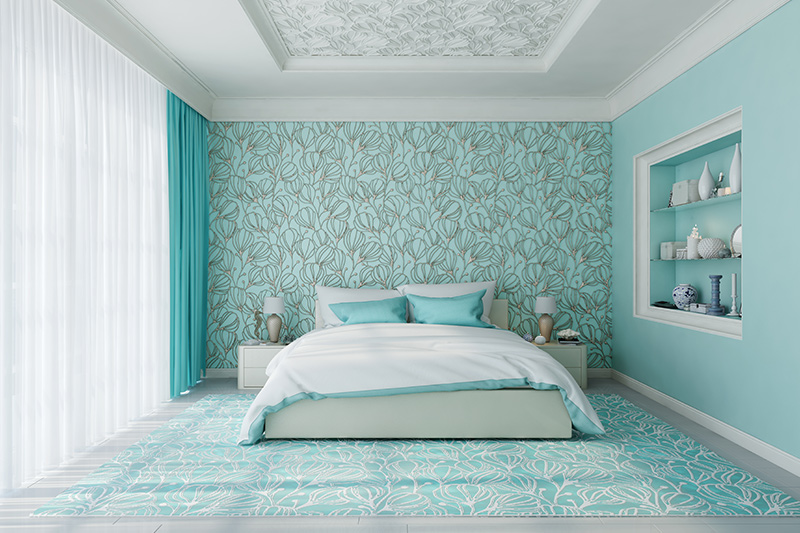 Sky blue bedroom walls with suitable wallpaper, pastel decor add up to make this type of bedroom more comforting.