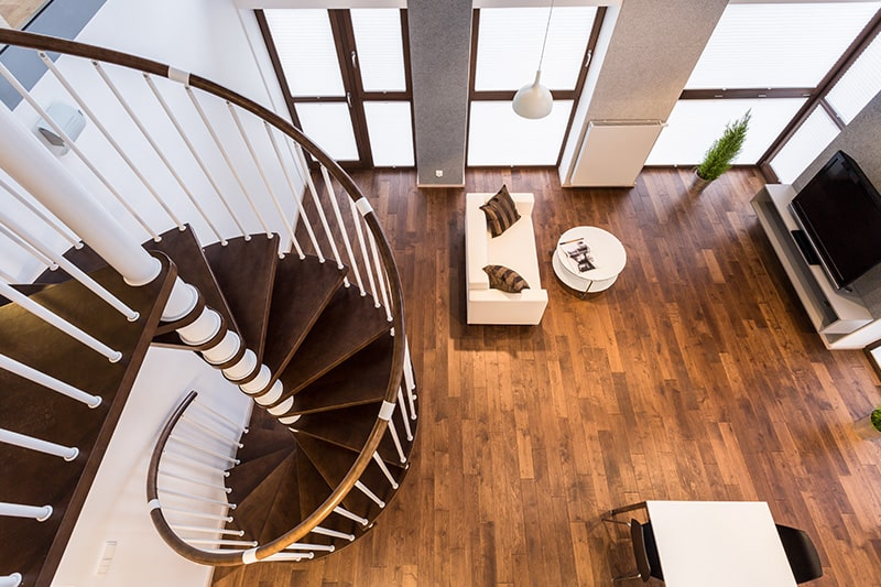 Spiral staircases are types of staircase for elegance look and saves space too