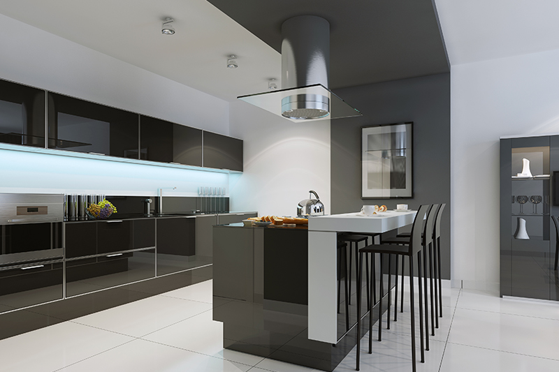 Go beautiful, island black kitchen cabinets with white countertops.