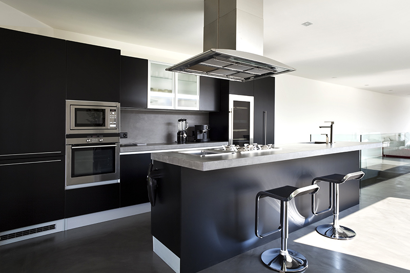 Minimalistic modern kitchen cabinets design black and white is a perfect combination.