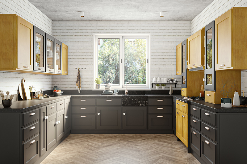 Yellow & black kitchen cabinets where colour that warms you up and a kitchen in this colour is sure to give you a cheerful cooking experience.
