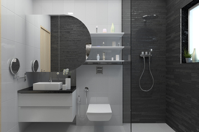 Bathroom tiles design grey and white with a mix of grey textured tiles and white ceramic tiles