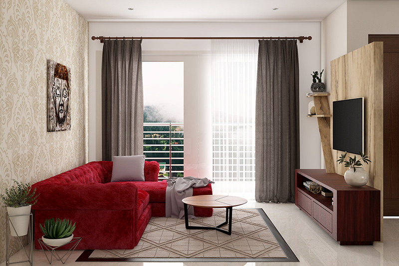 Curtains for small living room add bold grey-coloured drapes which gives a more refined look.