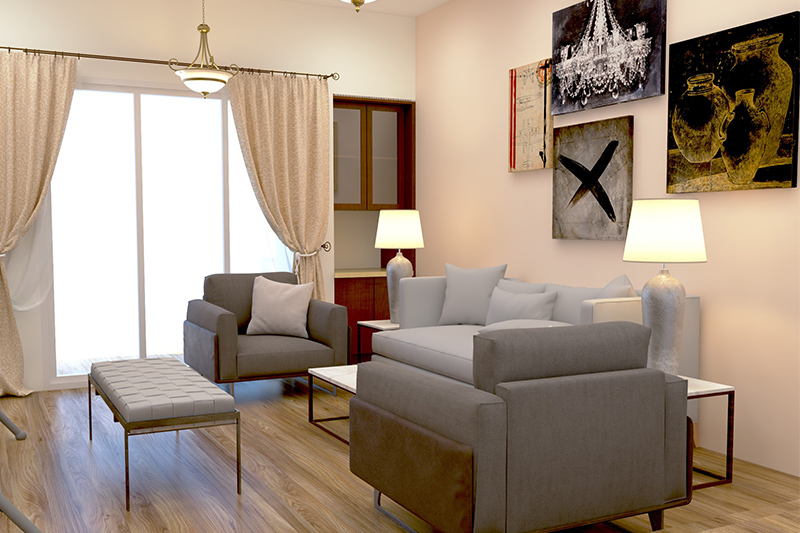 Curtain ideas for small living room where charming beige coloured curtains let extra sunlight pours.
