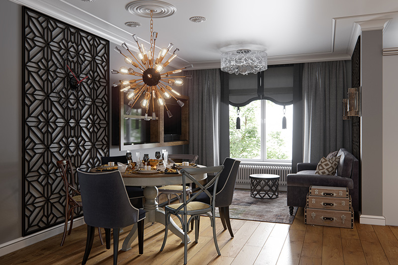 Sputnik chandelier is ideal for an urban contemporary open-floor style for dining areas with small living room interior ideas.
