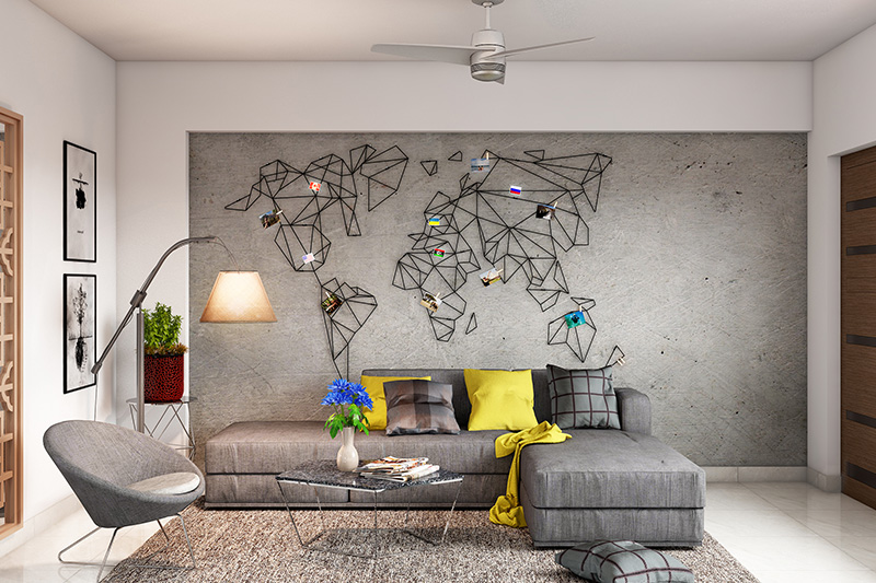 Very small living room ideas go for handcrafted steel world map that is an exciting piece of decor.