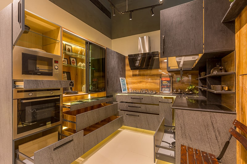 The difference between civil kitchen and modular kitchen are with customized storage options