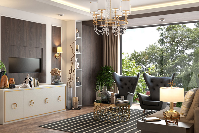 Luxury interior design living room conceal the necessary with a flip-up TV unit.