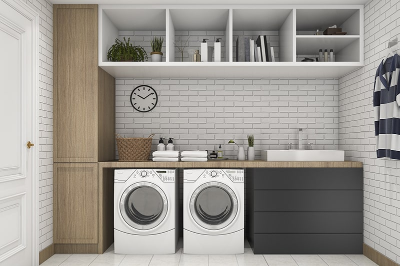 Laundry room with shelves for storage to keep showpieces or even tiny plants