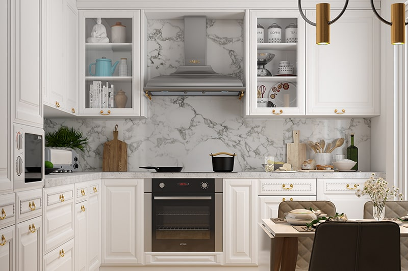 Classic modern style kitchen characteristic of panelled cabinet fronts and natural materials