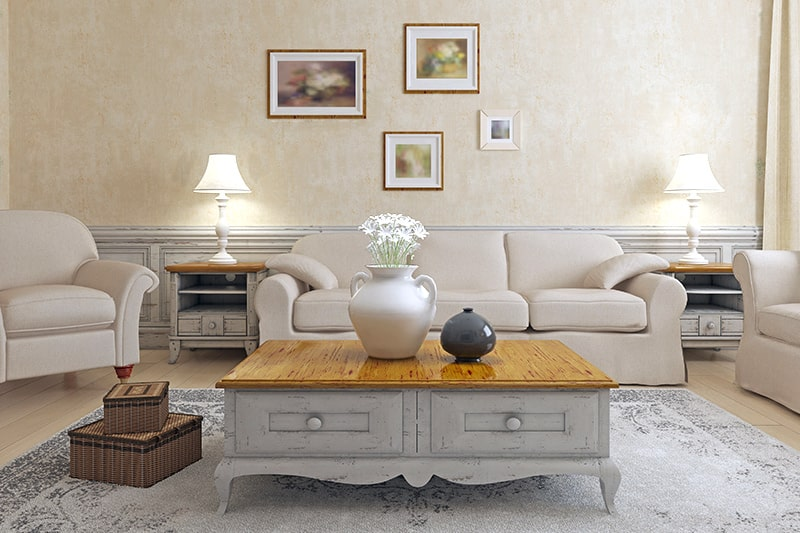 Modern living room console table with a wooden top which makes it look like a coffee table