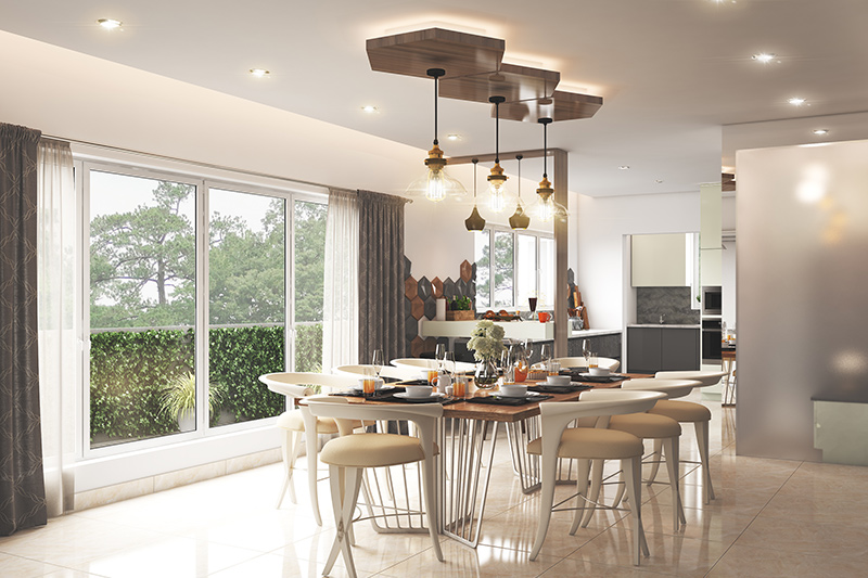 Modern dining room design with modern lighting fit to host elegant parties