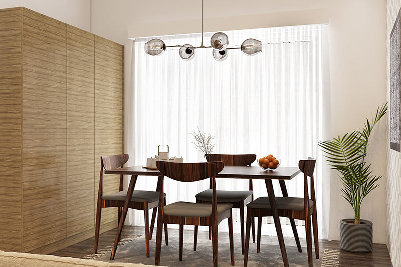 Modern dining room ideas with a designer lamp for nuclear families