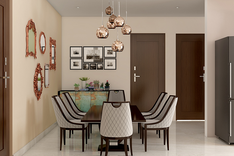 Modern dining room table with low seating arrangement with the addition of copper accents for a modern dining room design