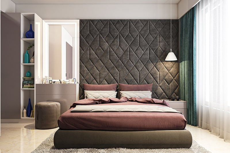 A floor to ceiling headboard for modern headboard design with bed headboard