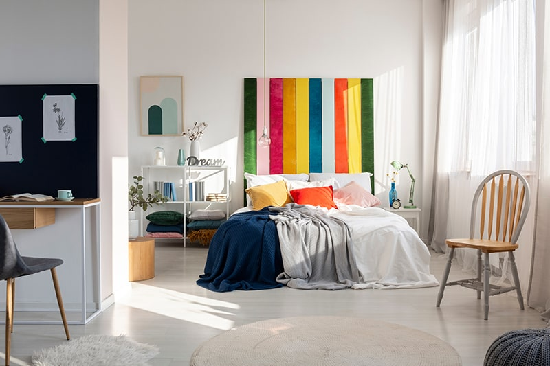 Colourful headboard by painted woods to make wooden headboard designs