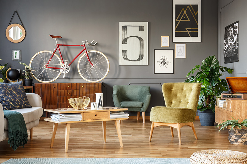 Simple living room ideas decorate the weird wall or a corner into the focal point by combining mix elements.