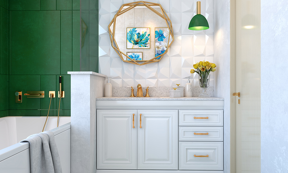 Bathroom paint colors with green and white make the bathroom look spacious and gives its close counterparts a tough fight.