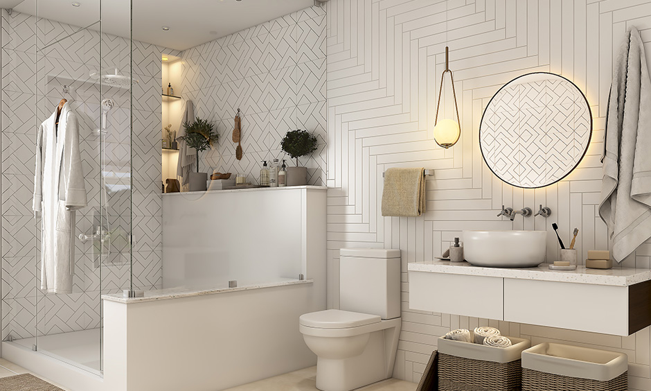 Bathroom wall colors sparkling white is more luxurious than other colors.