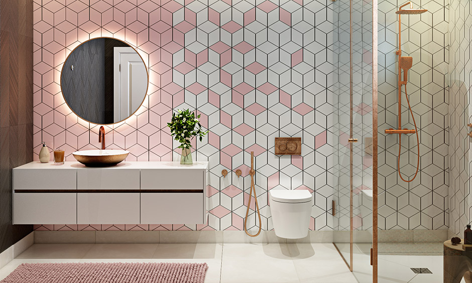 Bathroom color ideas with white and pink pairing is warm and welcoming with copper accents that complement it.