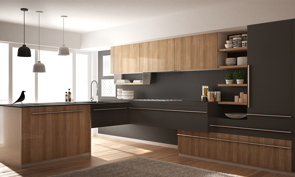 Dark grey white kitchen an eye-catching colour scheme for sure his shade of grey breaks away from conventional.