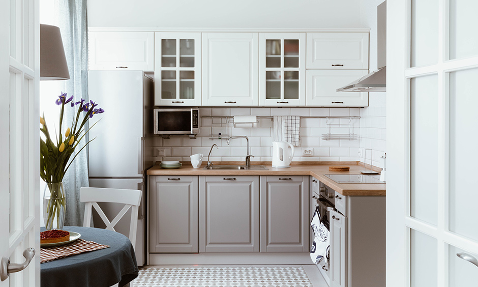 Nothing beats a simple grey and white kitchen with minimal accents.