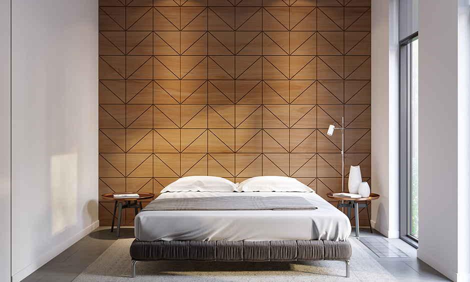 Bedroom wall wooden design geometric patterns is another smart way to modernise your bedroom space.