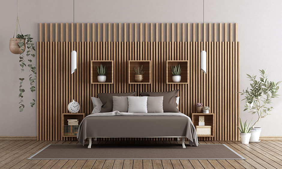 Wood PVC wall panels for bedroom