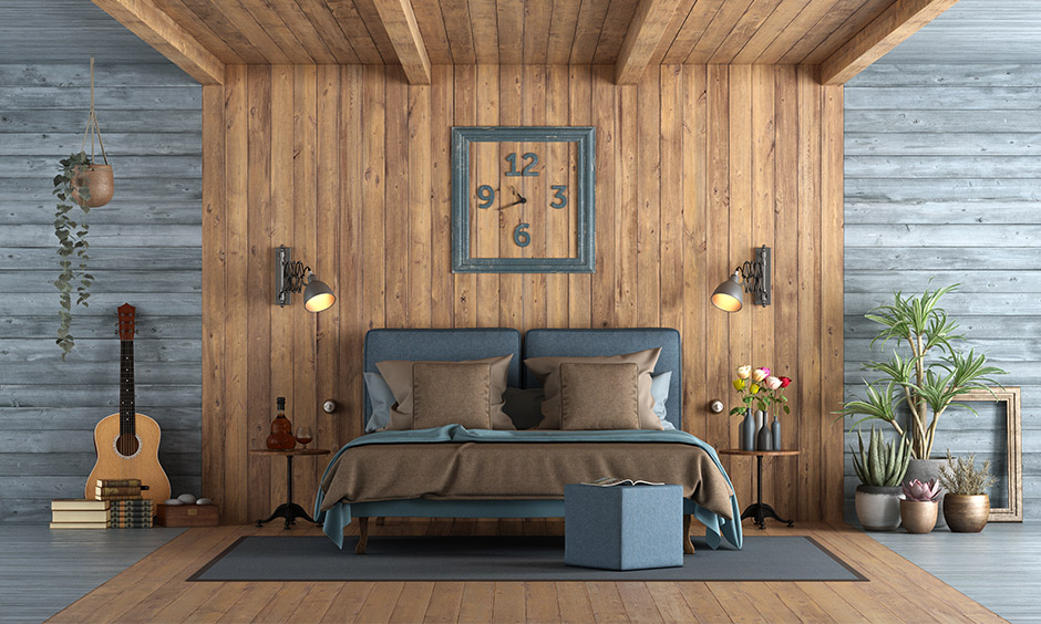 Bedroom Pvc wall panels reclaimed wood panelling offers a rustic charm with a rough yet flawless appeal.