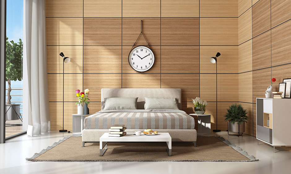 Softwood wall panel design for bedroom texture of this type is smooth, and it is also easy on the eyes.