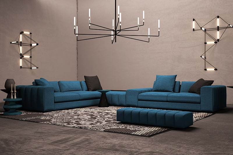An air force blue sofa set for your living room design