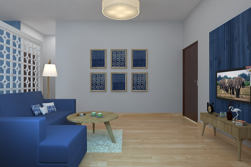 The lucky sapphire blue living room walls bring in good luck, wealth and success