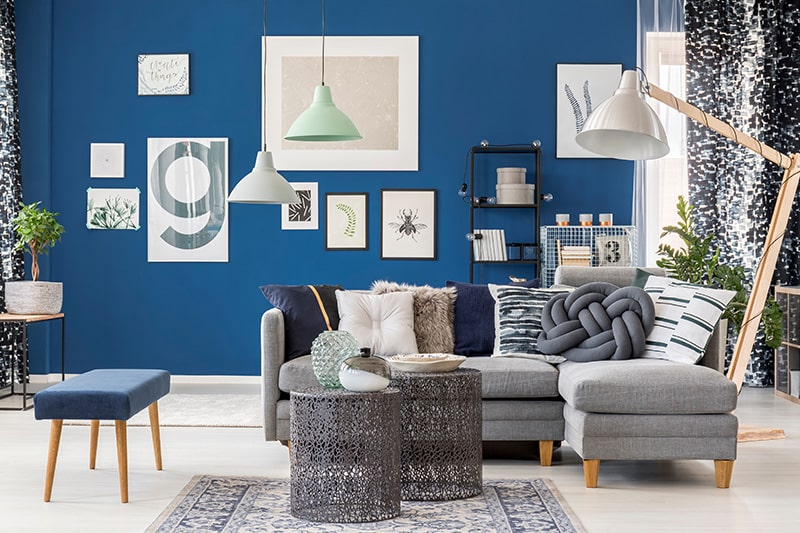 The regal royal blue shade is a classic choice for living room walls