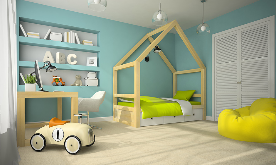 Kids bed design for your home with a wooden frame glazed in non-toxic paint with under storage options