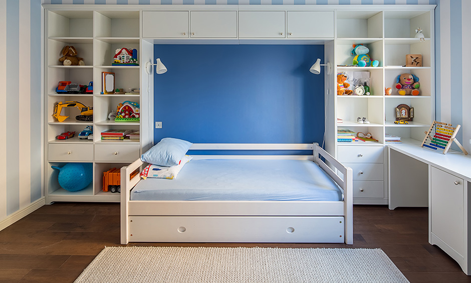 Kids bed design for boys with a space saving bed with storage with large cabinets and shelves for your home