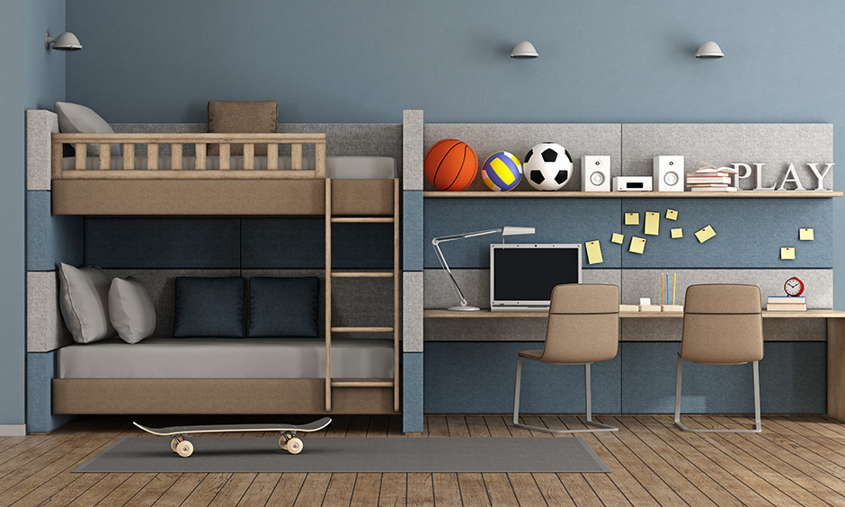 Kids bed design pictures with a twin bunk bed with storage cabinets and desk or study unit