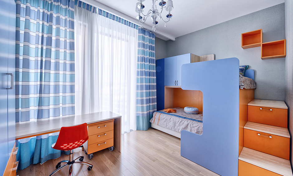 Kids bed designs with storage options in the form of side cabinets and stairs as drawers, and lift-up storage boxes
