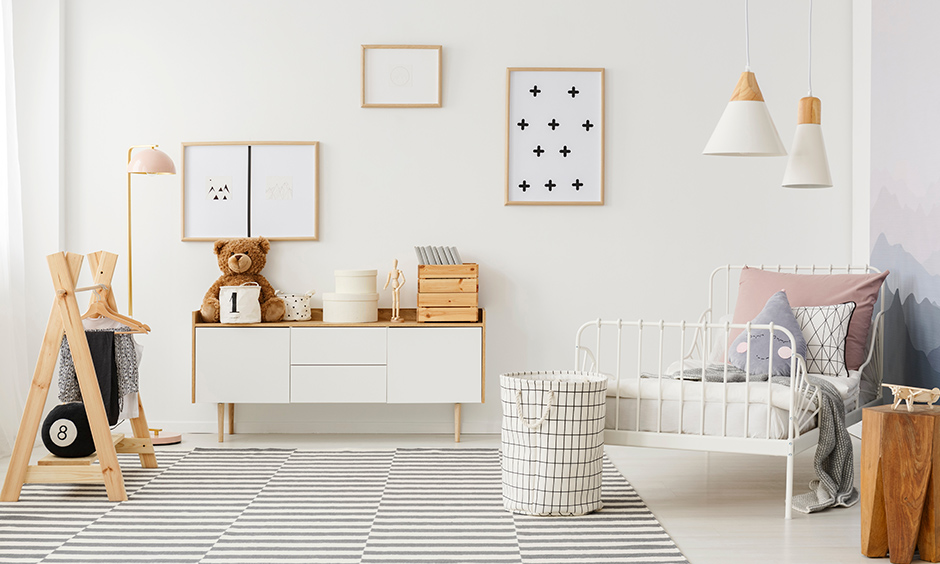 Simple kids bed design with a white wrought iron bed in minimalist style for your home