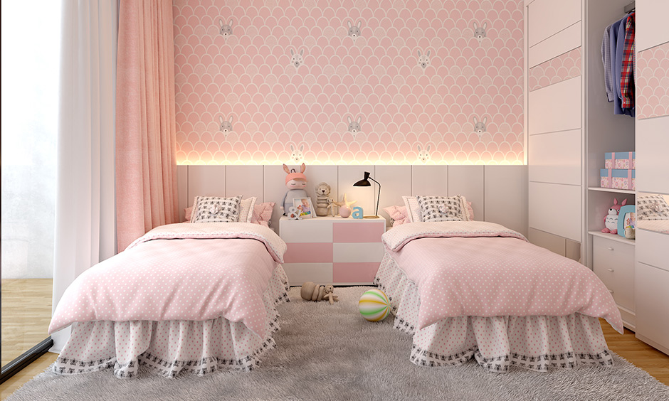 Twin bed design for kids where siblings share a single room designed with a comfortable mattress