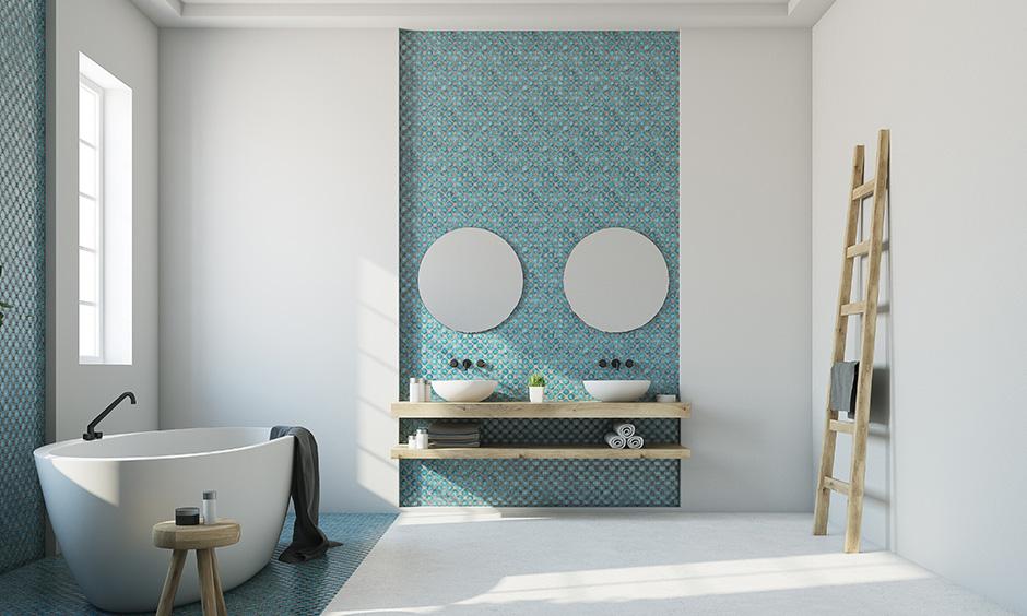 Bathroom sink cabinet designs for your home with elegant twin white bowl-shaped sinks with brilliant blue aqua backsplash bathroom sink design